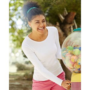 614040 Fruit of the Loom Lady-Fit Valueweight LS T-shirt donna manica lunga Thumbnail
